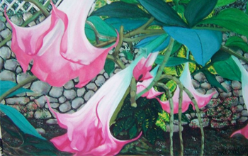 painting of a pink flower