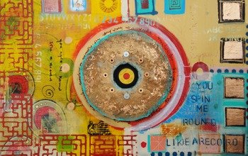 A yellow red blue and beige painting. A red circle encloses a small, yellow vircle in the middle of the painting by Eliza
