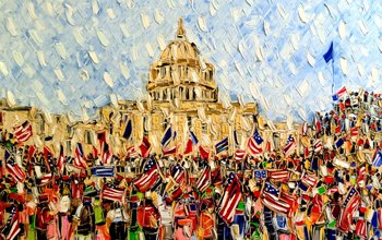 Cold Wallet Art by Joachim McMillan. A painting of the Capitol Riot