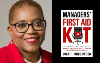 Joan Underwood and her book, Managers First Aid Kit