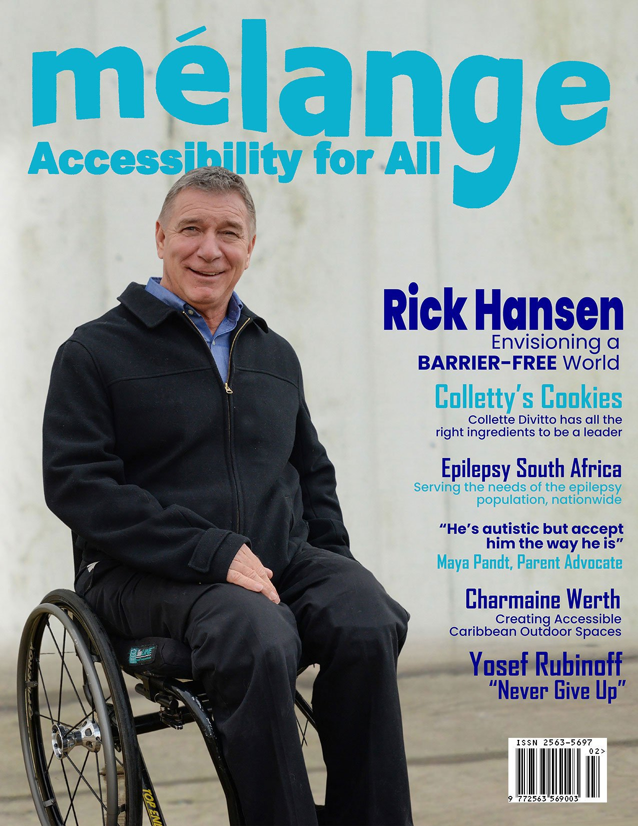 April-cover of Mélange Accessibility for All magazine showing Rick Hansen of the Rick Hansen Foundation