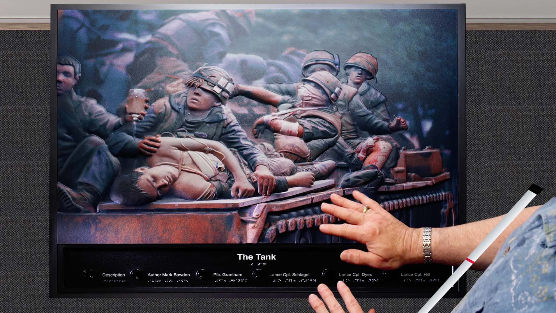 """Tactile Images - someone touching the tactile image of the painting, """"The Tank"""""""