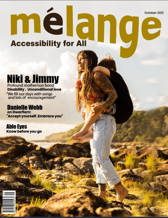 October 2021 Cover - Niki carrying he disabled son Jimmy on her back